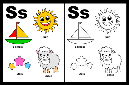 Kids alphabet coloring book page with outlined clip arts to color. Letter S