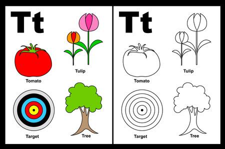 Kinderen alfabet kleurboek pagina met geschetst clip arts om kleur. Letter T