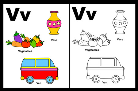 Kids alphabet coloring book page with outlined clip arts to color. Letter V Illusztráció
