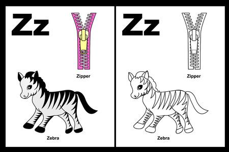 아이들은 색에 설명 된 클립 아트 색칠하기 책 페이지를 알파벳. 문자 Z 스톡 콘텐츠 - 38910479