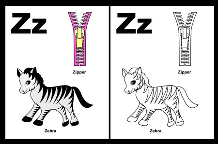 Kids alphabet coloring book page with outlined clip arts to color. Letter Z
