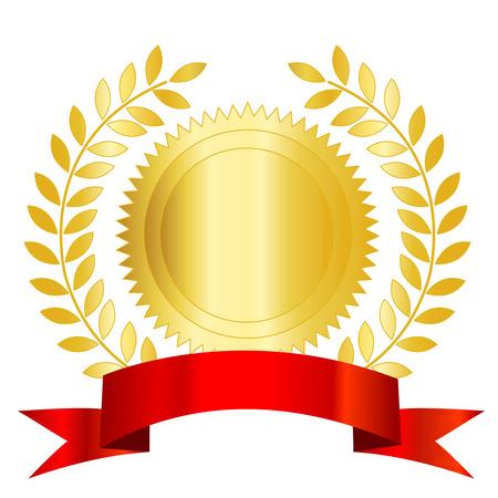 Illustration isolé d'un sceau d'or et le ruban rouge de laurier espace vide pour ajouter votre propre texte à l'intérieur. Banque d'images - 38910482