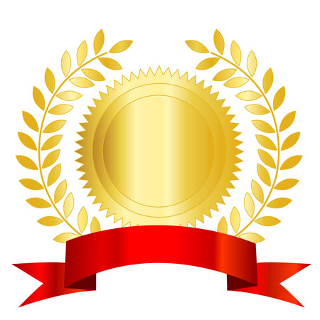 Isolated illustration of a gold seal and red ribbon with laurel empty space to add your own text inside. Vettoriali