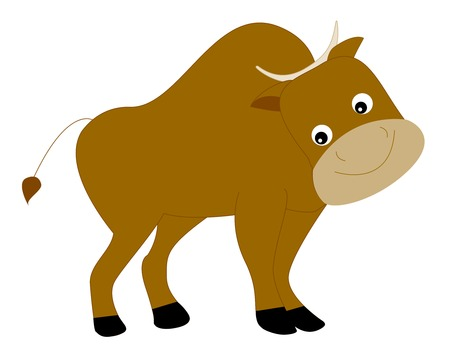 Cute yak / bison smiling illustration isolated on white background.