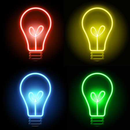 artificial lights: Colorful glowing light bulbson dark background Stock Photo
