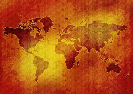 tarnish: Old world map illustration, aged background Stock Photo