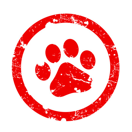 Red paw print inside circle frame grunge clipart isolated on white background. Paw print stamp Stockfoto