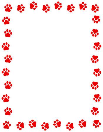 Red color dog paw prints frame / border n white background Foto de archivo