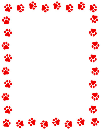 Red color dog paw prints frame / border n white background Archivio Fotografico