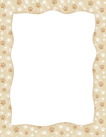 Brown and white paw print seamless pattern border / frame on light brown background