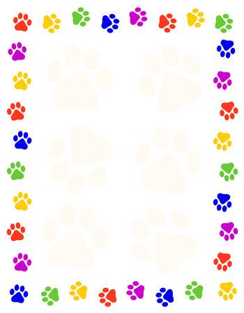 Colorful paw prints frame  border