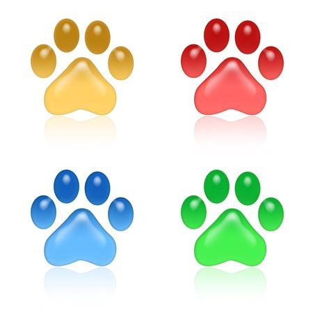 huellas de perro: Iconos impresión de la pata brillantes coloridos aislados en el fondo blanco Foto de archivo