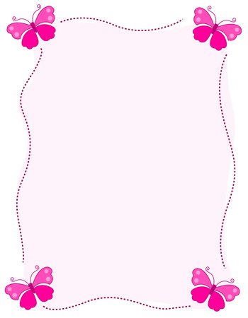 Bracket Frame Border Cute Butterfly With Four Pink Butterflies On Corners Stock Photo