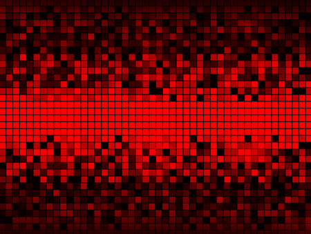 unevenly: Unique abstract background created from a grid of squares some red some shades of gray, distributed so that the center is all red and the upper and lower edges are dark.