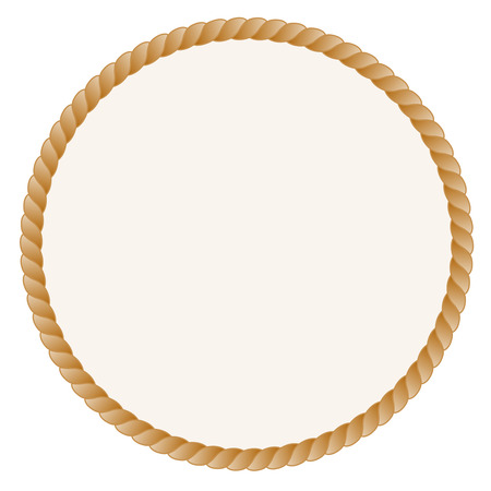 Circle shaped rope frame  border isolated on white background