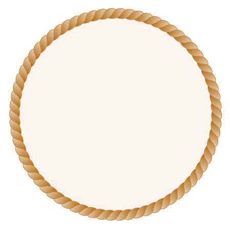 Cirkel vormige touw frame  grens geïsoleerd op een witte achtergrond Stockfoto