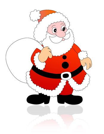 gift bag: Santa claus with gift bag illustration isolated on white background. Stock Photo