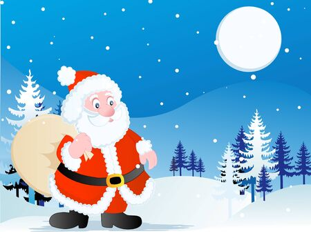wintry: A clip art illustration featuring a cute Santa Claus running through the snow with a toy bag in his hand surrounded by falling snowflakes and trees against blue background at a silent night Stock Photo