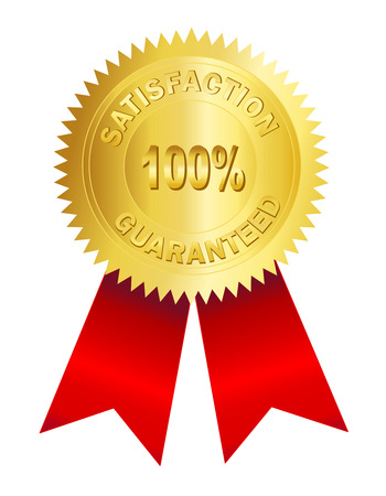 acknowledgment: 100% satisfaction guarantee gold seal with red ribbon