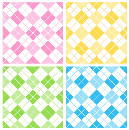 gingham: Colorful gingham  argyle seamless pattern collection