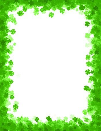 St. Patricks dag grens  backgrond met groene klavers Stockfoto