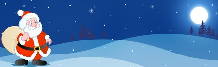 toy sack: Beautiful santa clipart with toy sack on blue falling snow background web site header  footer Stock Photo