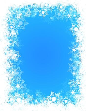Hiver flocons de neige tombant cadre / frontière avec espace vide blanc Banque d'images - 38910716