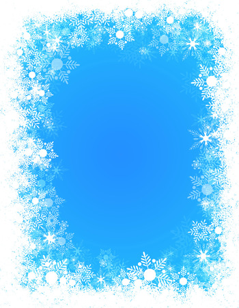 Winter falling snowflakes frame / border with empty white space Standard-Bild