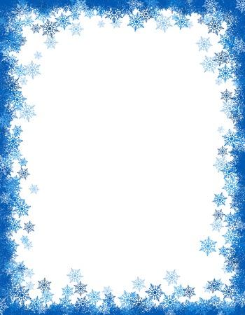 Winter vallende sneeuwvlokken frame  grens met lege witte ruimte Stockfoto