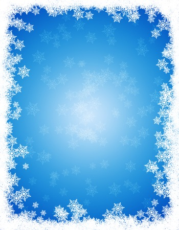 Snow winter frame / border with white falling snow on clean blue background Stock Photo