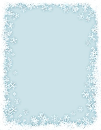 Winter border / frame with white snowflakes
