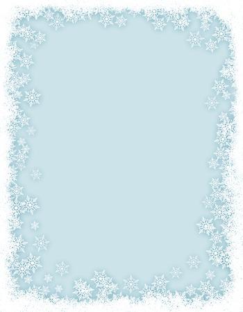 Winter border / frame with white snowflakes