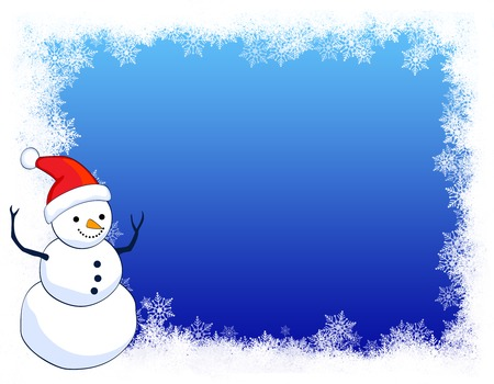 A border illustration featuring a smiling snowman with snow on clean blue background. snowman wearing red santa hat. Stock Photo