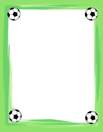 Colorful Sport Frame With Soccer Balls In Corners Stock Photo ...