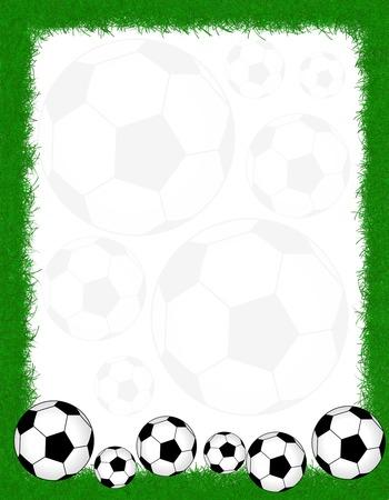 Soccer balls on beautiful green grass frame.