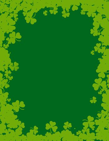 17th: Green clover st. Patricks Day Background  Border Stock Photo