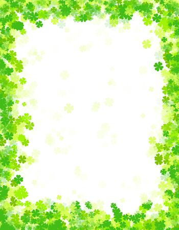 Green clover st. patricks day border  frame with empty white space on center photo