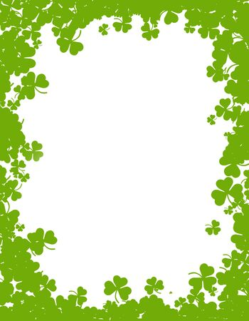17th of march: Green clover st. Patricks Day Background  Border Stock Photo