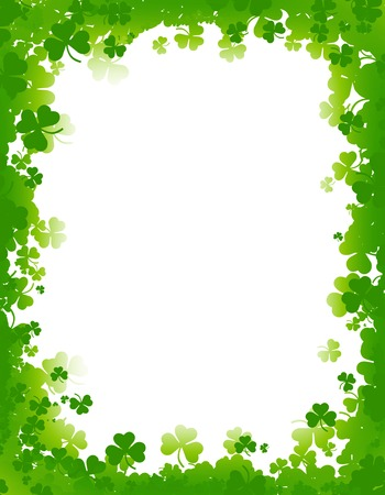 republic of ireland: Green clover st. Patricks Day Background  Border Stock Photo