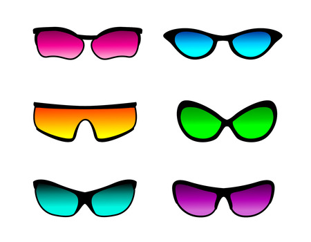 illustrated: Illustrated set of colorful sunglasses isolated on a white background. Stock Photo