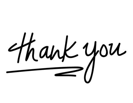 Dank u handgeschreven tekst op een witte achtergrond Stockfoto