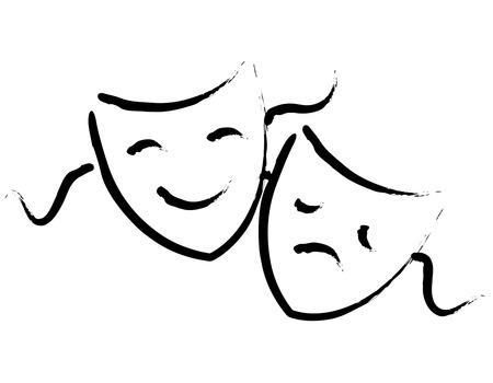 Mano negro dibujado máscaras del teatro hapy y tristes / se enfrenta aislado en fondo blanco