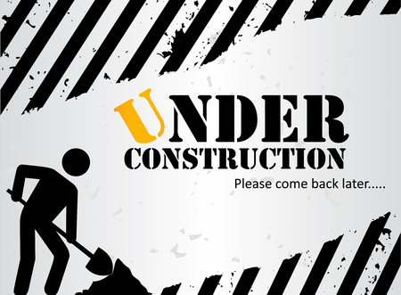 construction signs: Website under construction black and white background image   landing page with a working man