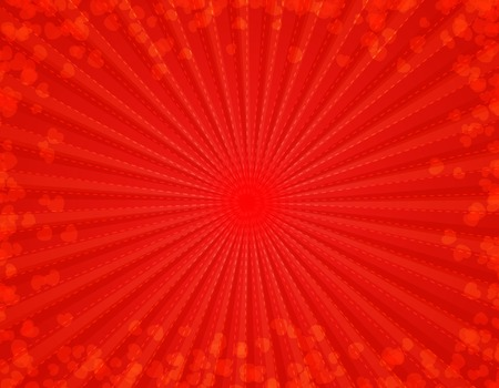 diverge: Bright red starburst background wth red hearts texture specially for make romantic valentines day or wedding invitation cards Stock Photo