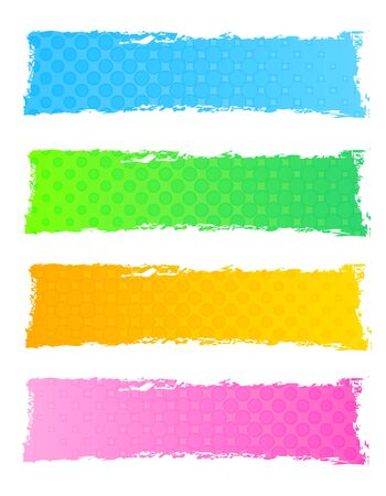 technological: Colorful dotted web banner  header collection isolated on white background