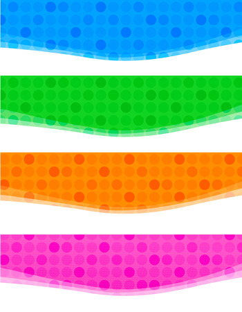 technological: Colorful halftone dotted web banner  header collection isolated on white background