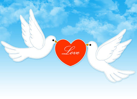 Two white pigeons holding a red heart with love text inside on blue cloudy sky background photo