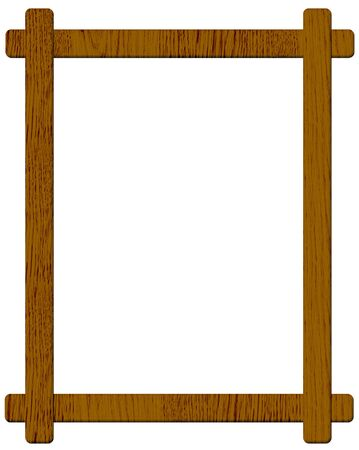 panting: Brown wooden picture frame isolated on white background