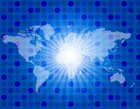 diverge: Cool blue retro star-burst background with worldmap
