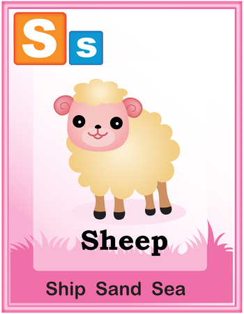 vowel: Animal alphabet with cute animals and capital and simple letters with similar words illustration. Specially for preschool children learning books. Illustration
